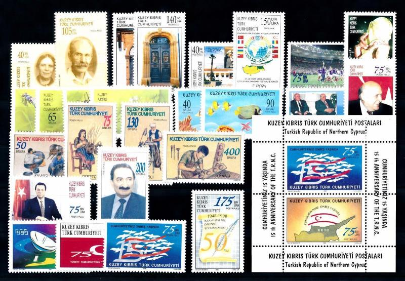 [51521] Turkish Cyprus 1998 Complete Year Set with Miniature sheet MNH