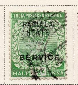 Indian States Patiala 1913 Early Issue Fine Used 1/2a. Optd 074826
