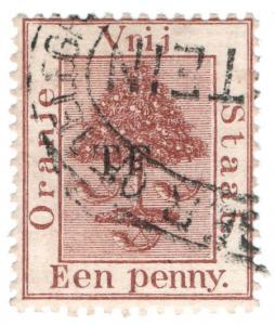 (I.B) Orange Free State Telegraphs : 1d Red-Brown (setting 7)