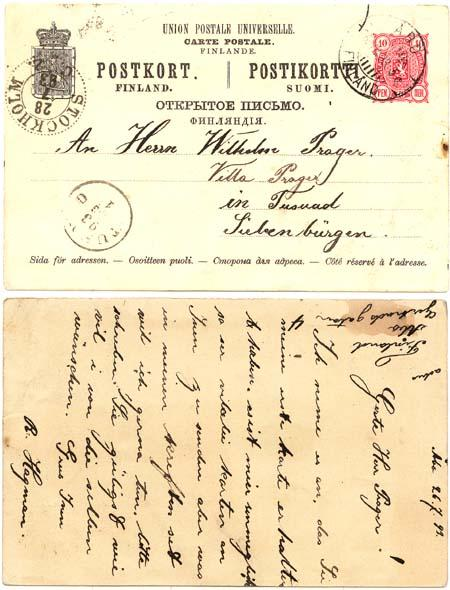 Finland to Sweden 1893 Postal Stat. Card Showing Several Languages. F