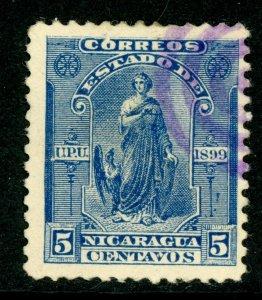 Nicaragua 1899 Seebeck 5¢ Justice Postally Used  B739 ⭐⭐⭐⭐⭐⭐