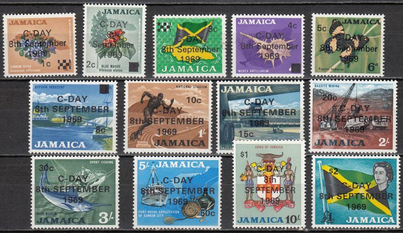 Jamaica - 1969 C-Day overprinted  set Sc# 279/291 - MH (517)