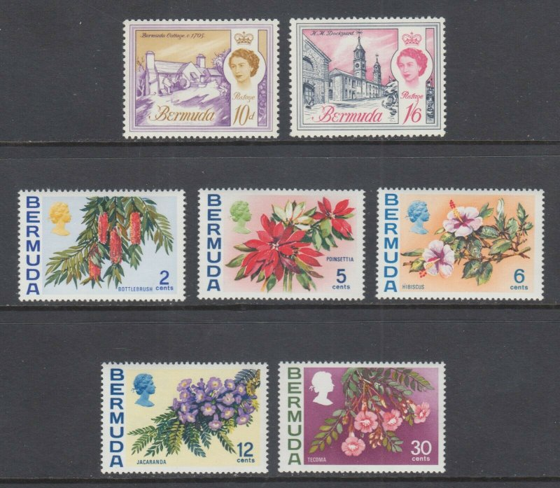 Bermuda Sc 182b, 185A, 256a, 259b, 260b, 263a, 267a MNH. 1966-78 Watermark varie