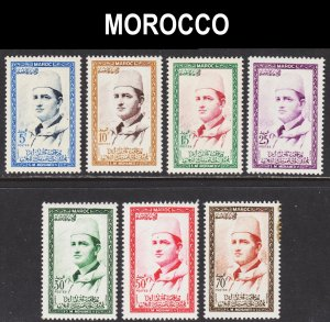 Morocco Scott 1-7 complete set F to VF mint OG NH.