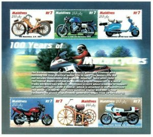 Maldives MNH S/S Motorcycles Blue 6 Stamps