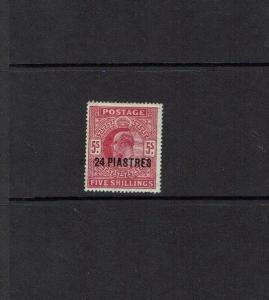British Levant: 1911, 24pi on 5/- Carmine, SG 34, Mint