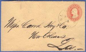 US - 1854 U10, 3c Buff used Stationery, EL DORADO, ARK to New Orleans, LA