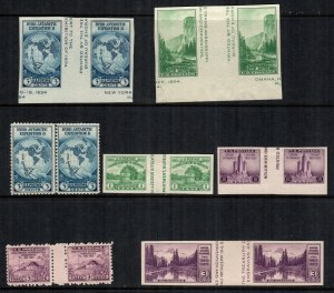 US  7 pairs  MH stamps