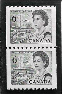 1970 Canada 468B  6p Queen Elizabeth MNH coil pair