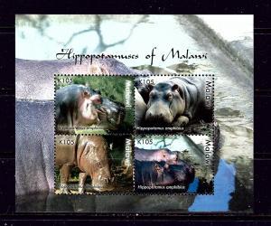 Malawi 747 MNH 2009 Hippopotamus sheet of 4