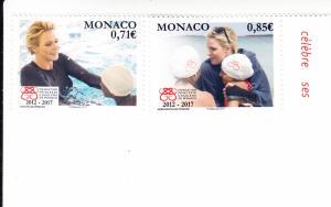 2017 Monaco Princess Charlene Foundation (2) (Scott 2878-79) MNH