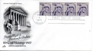 US FDC #1617 Justice Strip Of Four, ArtCraft (0014)