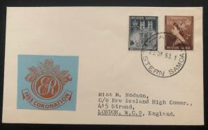 1953 Apia Western Samoa First Day Cover QE2 Queen Elizabeth coronation To UK B