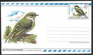 PAPUA NEW GUINEA 45t Berry Peckers :  Bird aerogramme fine unused..........10902