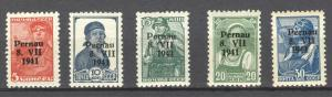 German Occupation 1941 Estonia, Pernau Mi. 5 to 9 MLH, no faults