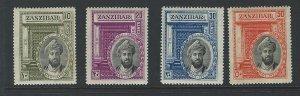 Zanzibar mh gum toned  see scan   sc # 214-217