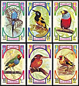 Ras al Khaima Michel 593 A-598A, MNH, Small Colorful Birds