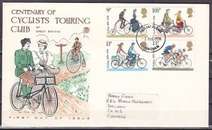 Great Britain, Scott cat. 843-846. British Bicycle issue. First Day Cover. ^
