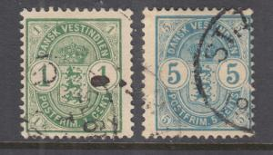 Danish West Indies Sc 21-22 used. 1900 Coat of Arms & Numeral, cplt set, thin