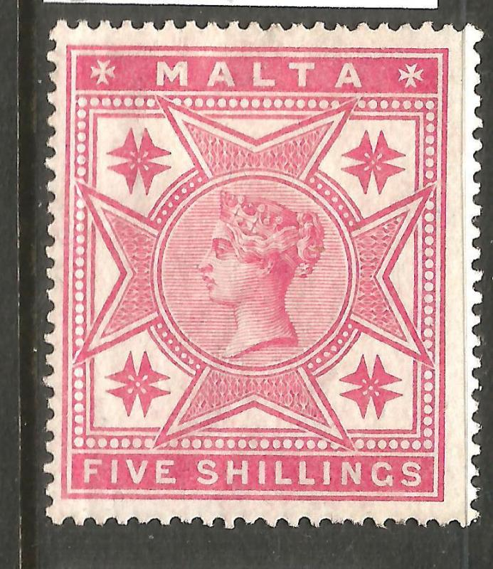 MALTA  1886  5/-  QV  MH  WMK INVERTED  SG 30w