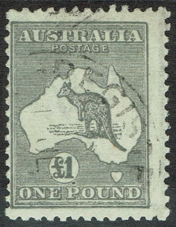 AUSTRALIA 1923 KANGAROO 1 POUND 3RD WMK USED