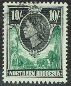 NORTHERN RHODESIA 1953 QEII GIRAFFE AND ELEPHANTS 10/- USED