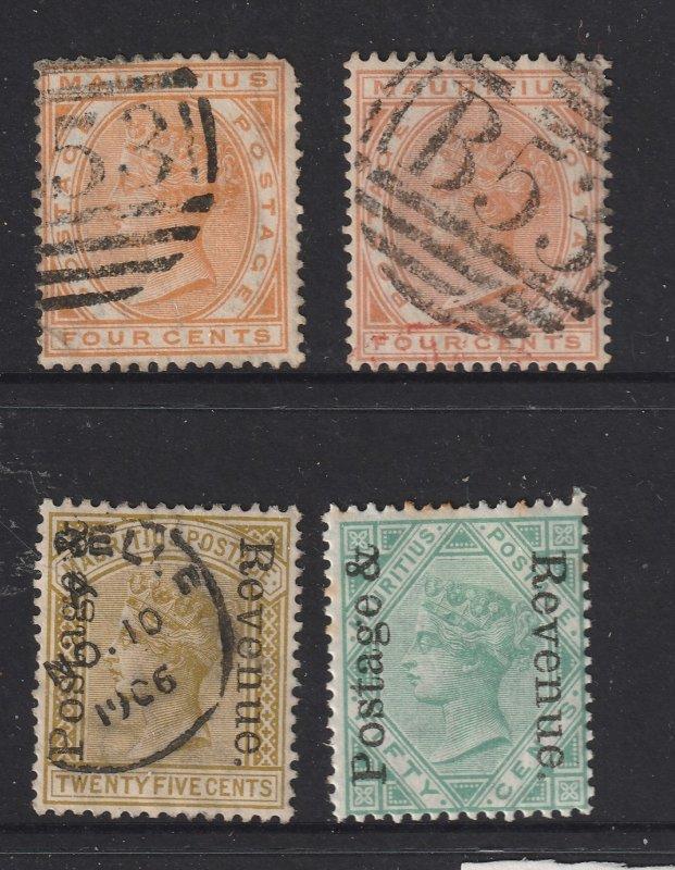 Mauritius x 1M& 3 used QV