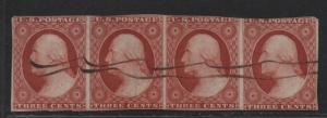 $US Sc#10a used, rare strip of 4, 76L2e-79L2e, 2 sm. tears, Cv. $1500++