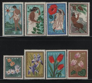 GREECE, 624-631,SET, HINGED, 1958, NARCISSUS, DAPHNE & APOLO, ALDONIS & AFRODITE