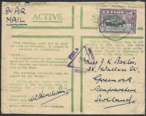 CEYLON WW2 1943 censored Honour envelope, Indian FPO 74 cancel.............56641