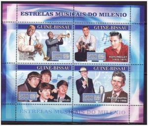 Guinea-Bissau - Music Stars 4 Stamp  Sheet GB7111a