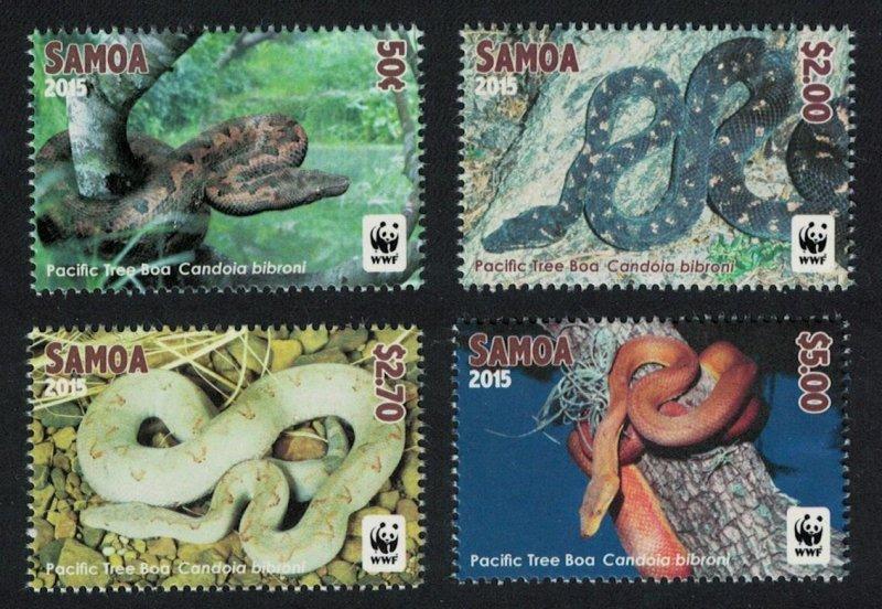 Samoa MNH 1198-1201 Pacific Tree Boa Snakes Reptiles WWF 2015 SCV 8.25