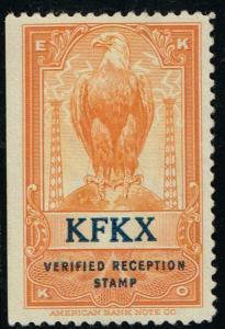 USA  - EKKO -  KFKX - Hastings, NE - Verified Reception Stamp $29.95