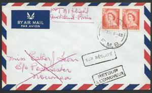 NEW ZEALAND 1957 first flight cover to New Caledonia, Unclaimed Returned...11470