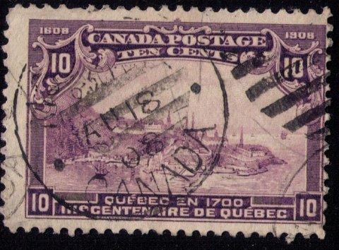 CANADA Sc # 101 Dark VioletView Of Quebec In 1700 FINE Cat..$125.00