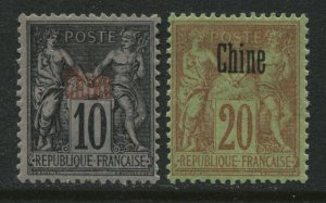 France Offices in China overprinted Chine 10 and 20 centimes mint o.g.