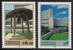 UN, Vienna #233-4 MNH Set - Peace Bell - Vienna Center