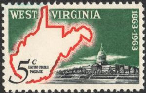 SC#1232 5¢ West Virginia Statehood Issue (1963) MNH
