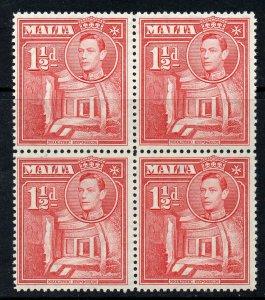 Malta 1938 KGVI 1½d scarlet SG 220 BLOCK 4 MNH