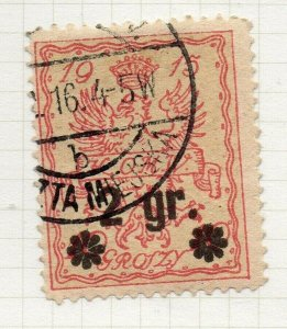 Poland Warsaw 1916 Early Issue Fine Used 2gr. Surcharged Postmark NW-14439