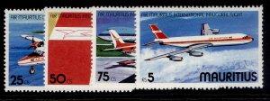 MAURITIUS QEII SG524-527, 1977 intl flight of air Mauritius set, NH MINT.
