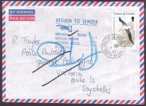 TRISTAN DA CUNHA 1997 cover to Seychelles - returned to sender.............35351