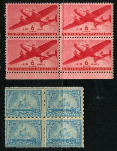 One cent Doc and  6 cent DC Clipper  BLOCKS/4 MINT OGNH