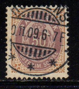 Denmark Sc 33 1875 50 ore brown & violet stamp used