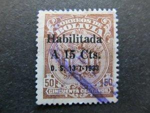 A4P31F73 Bolivia 1933 optd 15c on 50c used