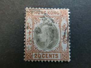A4P11F28 Hong Kong 1903 Wmk Crown CA 20c used