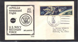 Event Apollo Unmanned Flight AS 501 1331-1332 Space (Cachet-Label/A) CV0972