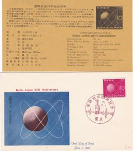 Japan 1960 25th Anniversary Japan Radio Slogan Cancel Stamp FDC Cover Ref 29877