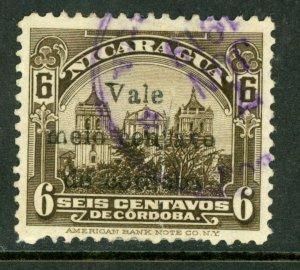 Nicaragua 1918 Cathedral Provisional ½¢/6¢ Scott 366a VFU M481