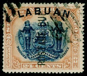 LABUAN SGD9b, 24c blue & lilac-brown, USED.